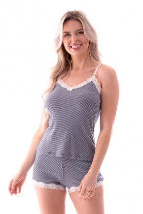 pijama feminino listrado alca com renda ohzen 3