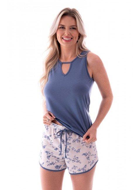 pijama feminino curto sem mangas decote com detalhe gota ohzen