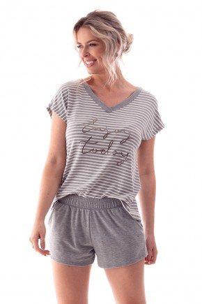 pijama feminino curto listrado shorts com bolso ohzen