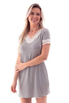 camisola curta listrada com renda ohzen