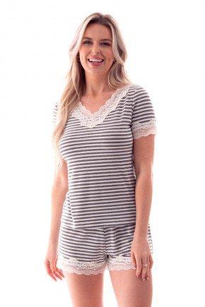 pijama feminino curto listrado com renda ohzen 3