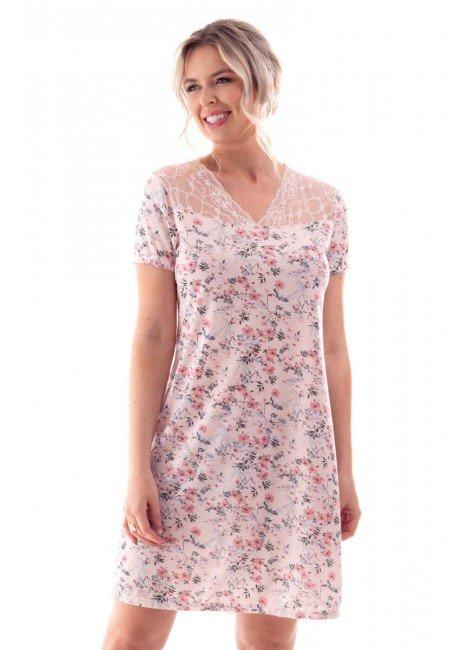camisola feminina estampada floral com decote renda