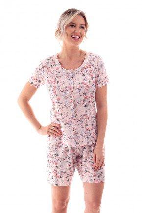 pijama feminino estampado floral com abertura funcional botao