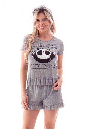 pijama feminino curto babado estampa panda ohzen