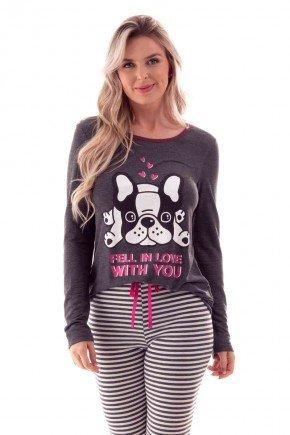 pijama feminino longo inverno estampa cachorro fell in love with you com calca listrada ohzen