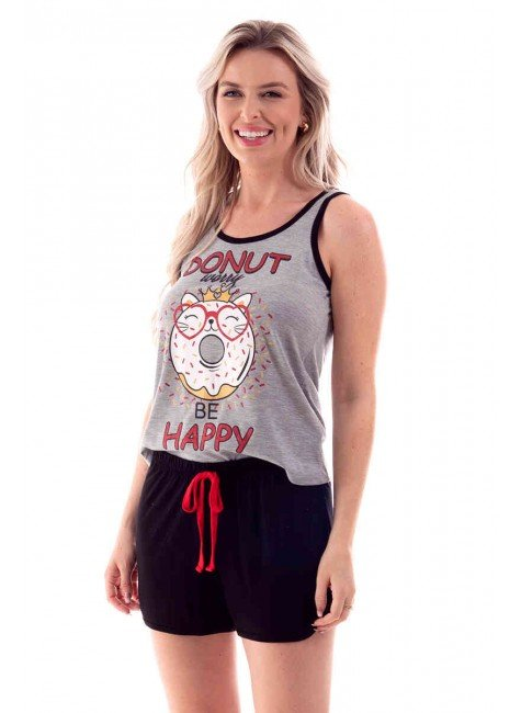 pijama feminino curto donut worry be happy ohzen