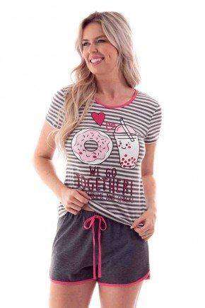 pijama feminino curto listrado donuts ohzen