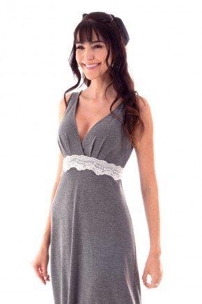 camisola feminina longa transpassada com renda
