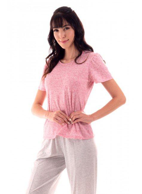 pijama feminino pantacourt com blusa manga princesa ohzen