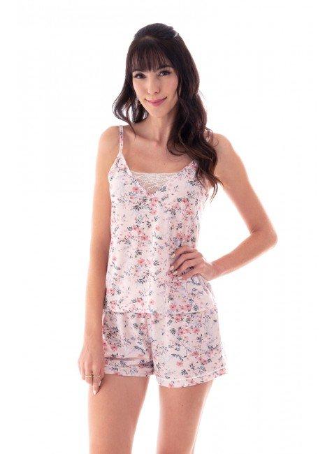 pijama feminino curto floral de alcas finas e renda ohzen 4