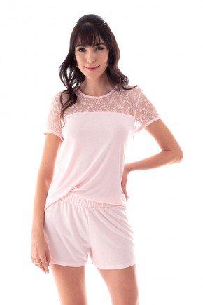 pijama feminino curto com renda delicado romantico ohzen 4