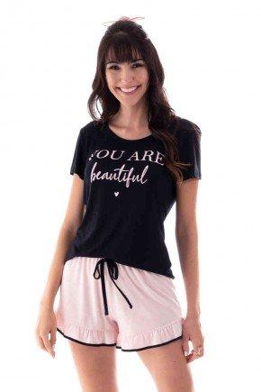 pijama feminino curto you are beautiful com babado ohzen 4