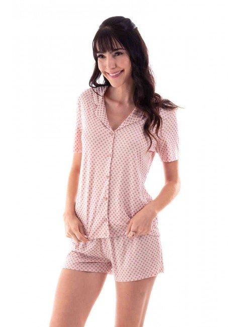 pijama feminino curto americano estampado poa com glitter ohzen 4
