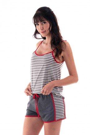 pijama feminino curto shortdoll alca listrado ohzen 4