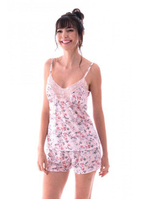 pijama feminino alca shortdoll estampadocom renda ohzen