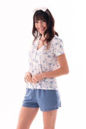 pijama feminino estampado floral com abertura funcional botao ohzen 4