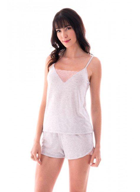 pijama feminino curto renda ohzen 3