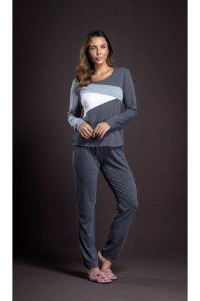 pijama feminino manga longa mescla recortes ohzen