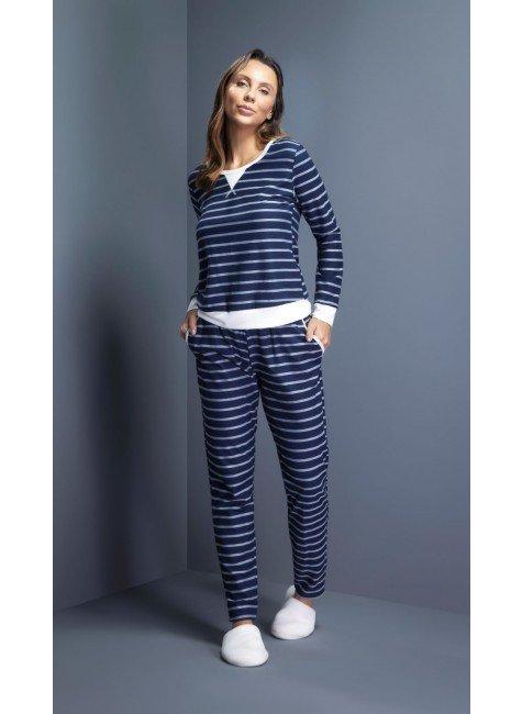 pijama feminino longo listrado ohzentr