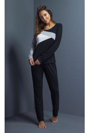 pijama feminino manga longa preto recortes ohzentr