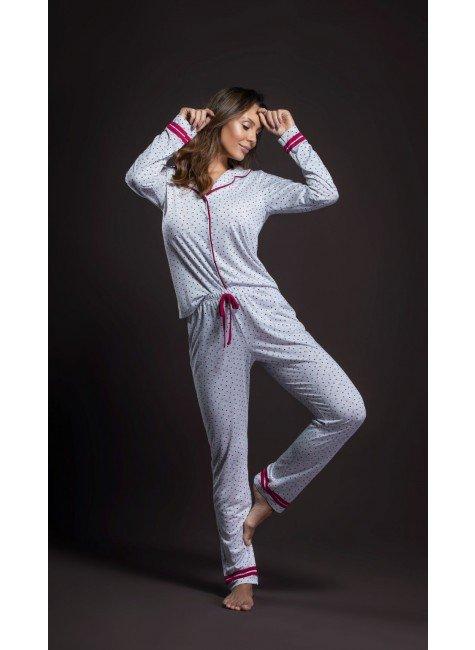 pijama feminino manga longa americano coracao ohzentr
