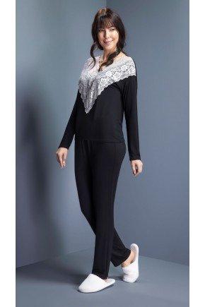 pijama feminino longo renda ohzentr