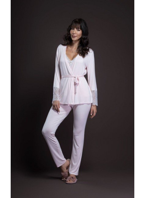 pijama feminino longo trio de renda ohzentr