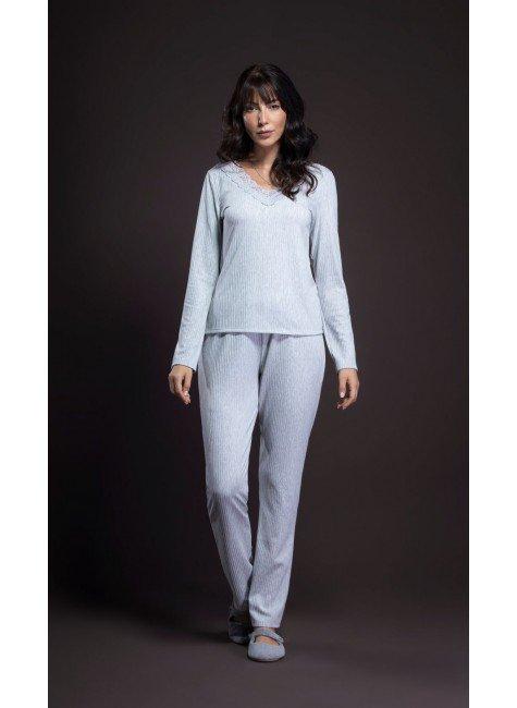 pijama feminino manga longa com renda ohzentr