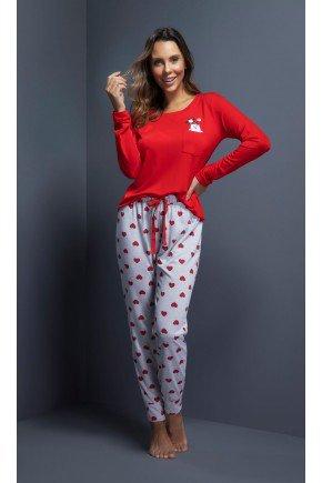 pijama feminino longo bolsinho urso com calca coracao ohzentr