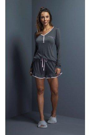 pijama feminino manga longa com shorts babado ohzentr