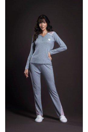 pijama feminino longo canelado com renda ohzentr