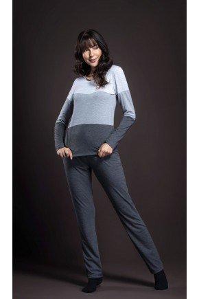 pijama feminino longo recortes tricolor ohzentr