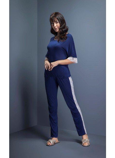 pijama feminino manga curta com calca renda lateral ohzen 3 tr