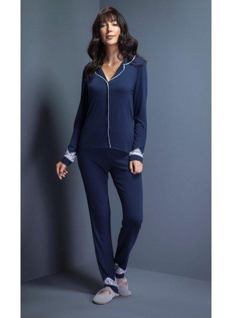pijama feminino longo americado com renda ohzentr