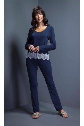 pijama feminino longo barra renda ohzentr