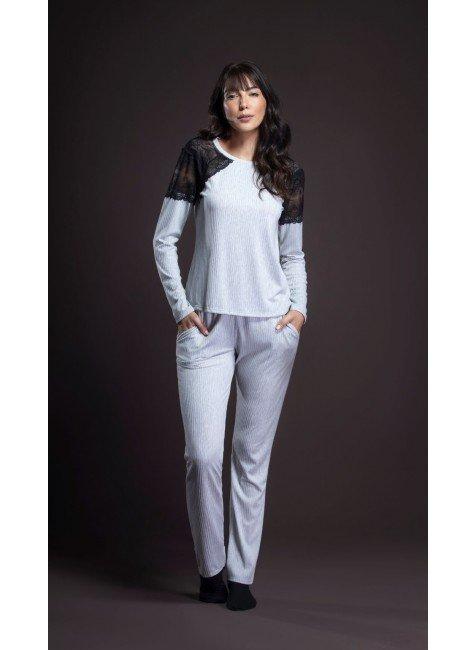 pijama feminino longo com ombros em renda ohzentr