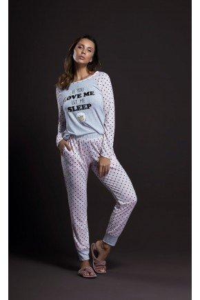 pijama feminino longo poa estampa ovelhinha ohzentr
