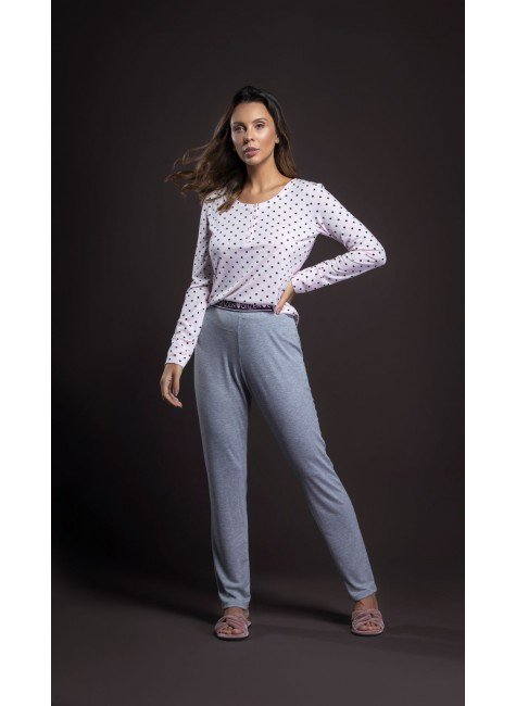 pijama feminino manga longa poa ohzentr