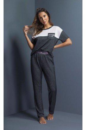 pijama feminino manga curta com calca ohzentr