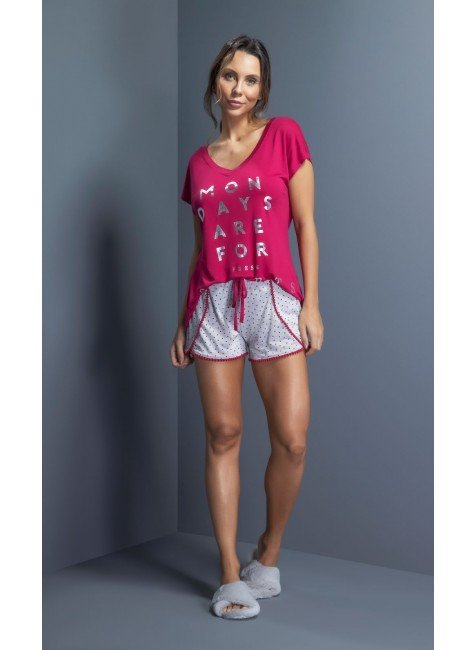 pijama feminino curto shorts pompom ohzentr