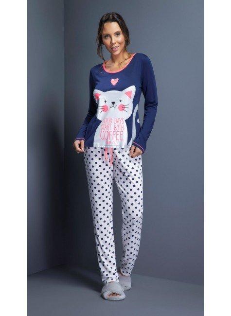 pijama feminino longo gato com calca poa ohzentr