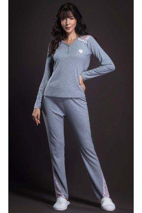 pijama feminino longo canelado com renda ohzen